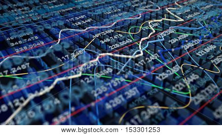 Stock exchange graph background 3D illustration, 3D render