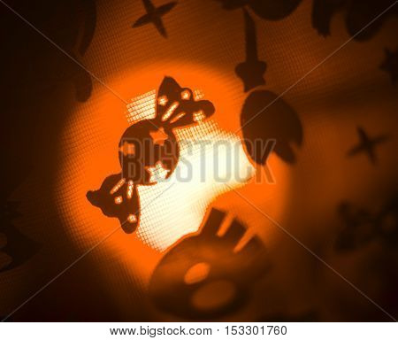 Halloween ghost candy sweets children's party trick or treat surreal ghostly scary photo of frightening ghosts and monsters at night.