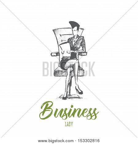 Vector hand drawn business lady sketch. Business woman sitting leg to leg on office chair and holding documents. Lettering Business lady