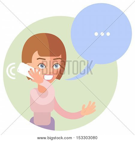 Talking on the phone woman. In the flat style. Speech bubble