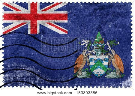 Flag Of Ascension Island, Canada, Old Postage Stamp