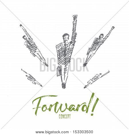 Vector hand drawn forward concept sketch. Business people jumping up and flying towards new opportunities. Lettering Forward concept