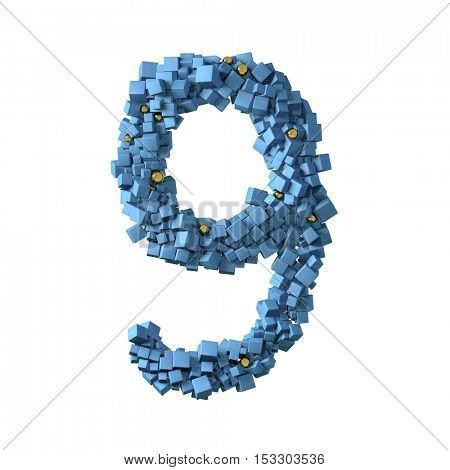 blue numbers from cubes, 9, nine, 3d illustration