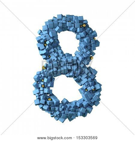 blue numbers from cubes, 8, eight,3d illustration