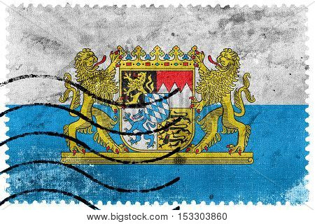 Flag Of Bavaria With Coat Of Arms, Germany, Old Postage Stamp
