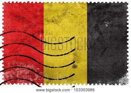 Flag Of Besancon, France, Old Postage Stamp