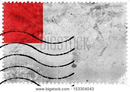 Flag Of Bilbao, Spain, Old Postage Stamp
