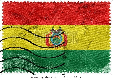 Flag Of Bolivia With Coat Of Arms, Old Postage Stamp