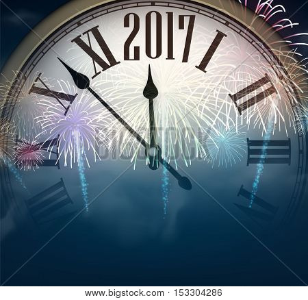2017 New Year background with clock and fireworks. Vector illustration.