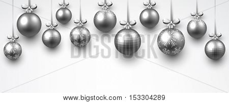 New Year white banner with silver Christmas balls. Vector illustration.
