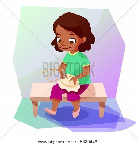 Cute little african american girl doing a cross stitiching. Kids hobby cartoon illustration.