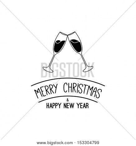 Clink The Champagne Glasses. Merry Christmas and Happy New Year Label. Template for Greeting card. Vector Illustration