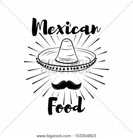 Sombrero and Mustache. Mexican Food theme. Design Element. Sunburst Vector Illustration.