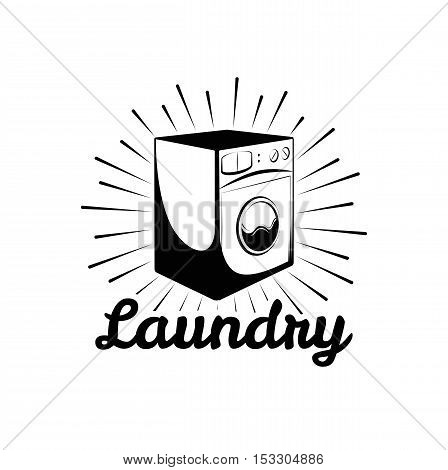 Washing Machine. Laundry Room And Dry Cleaning label and badge. Isolated On White Background
