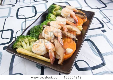Stir fry Broccoli with shrimp / Stir fry Broccoli concept
