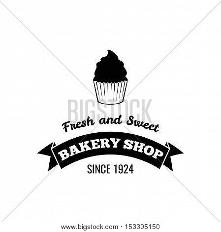 Cream dessert cakes bakery logo or emblem for food, cafe or restaurant menu design. Vector Illustration