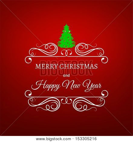 merry christmas filigree frame with christmas tree on red background. xmas tree. happy new year celebration. filigree swirl frame.