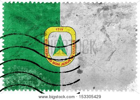 Flag Of Cuiaba, Mato Grosso, Brazil, Old Postage Stamp