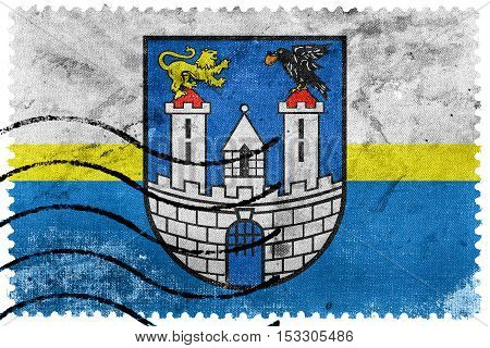 Flag Of Czestochowa With Coat Of Arms, Poland, Old Postage Stamp