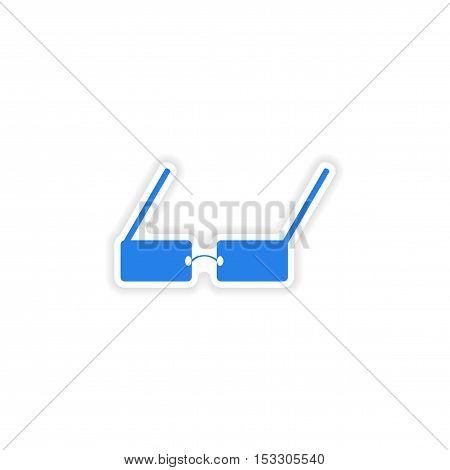 icon sticker realistic design on paper glasses