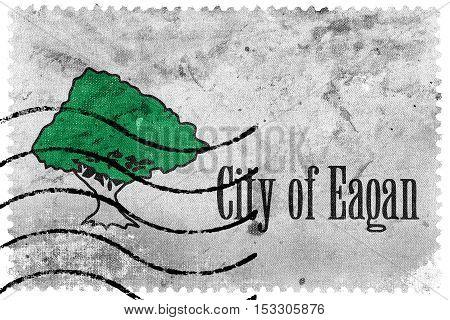 Flag Of Eagan, Minnesota, Usa, Old Postage Stamp