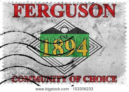 Flag Of Ferguson, Missouri, Usa, Old Postage Stamp