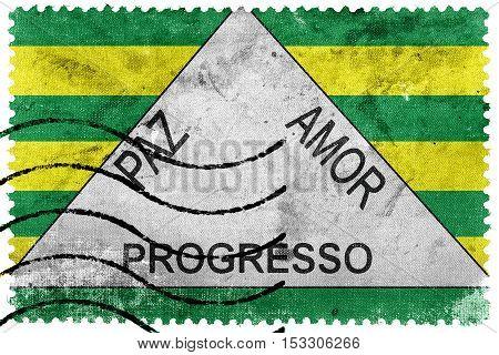 Flag Of Ferros, Minas Gerais State, Brazil, Old Postage Stamp
