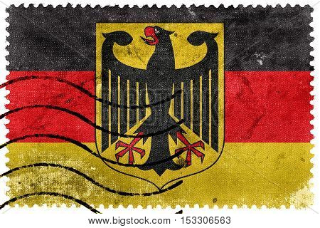 Flag Of Germany With Coat Of Arms, Old Postage Stamp