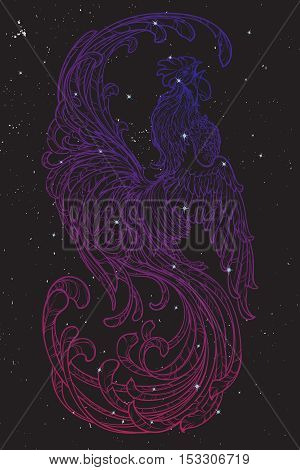 Concept drawing for year of rooster 2017. Crowing Cock - Symbol of New Year 2017. Linear hand drawing on black nightsky background. EPS10 vector illustration.