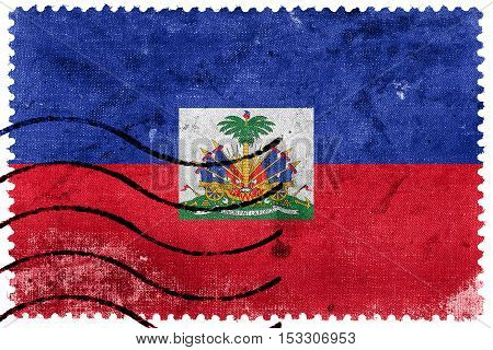 Flag Of Haiti With Coat Of Arms, Old Postage Stamp