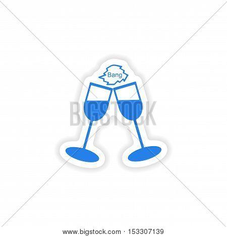 icon sticker realistic design on paper wineglass