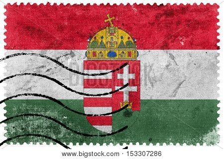 Flag Of Hungary With Coat Of Arms, Old Postage Stamp