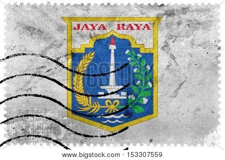 Flag Of Jakarta, Indonesia, Old Postage Stamp