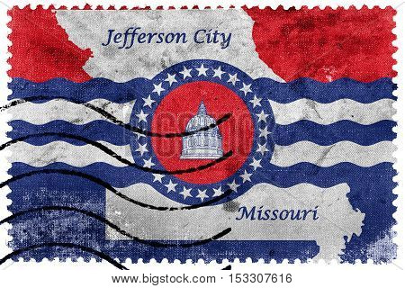 Flag Of Jefferson City, Missouri, Usa, Old Postage Stamp
