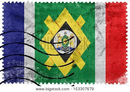 Flag Of Johannesburg, South Africa, Old Postage Stamp