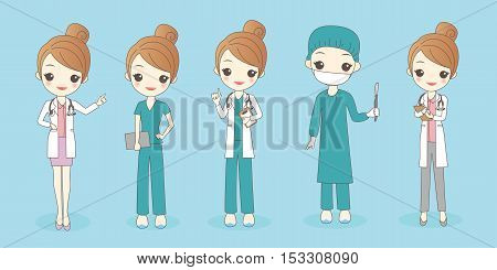 cartoon woman doctor wear different clothes great for your design