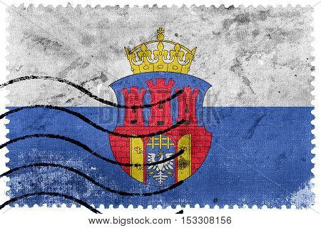 Flag Of Krakow With Coat Of Arms, Poland, Old Postage Stamp