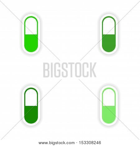 assembly realistic sticker design on paper pills