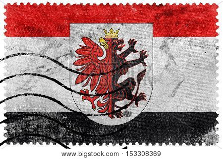 Flag Of Kuyavian-pomeranian Voivodeship With Coat Of Arms, Poland, Old Postage Stamp