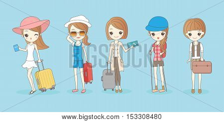 cartoon travel woman wear different clothes great for your design
