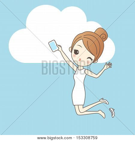 Woman using smartphone or tablet pc. Around it - social media icons