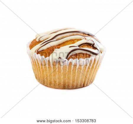 Muffin Poured With Liquid Chocolate Syrup