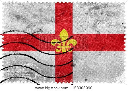 Flag Of Lincoln City, England, Uk, Old Postage Stamp