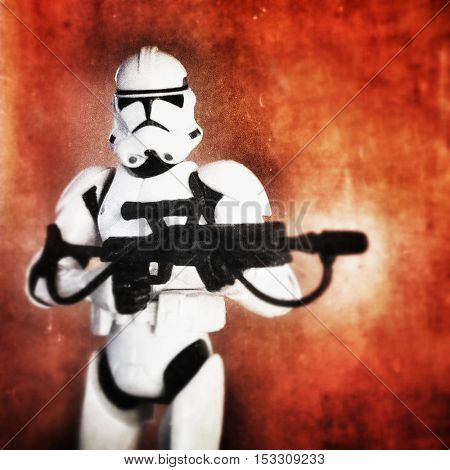 Star Wars Phase II Clone trooper against red painted background