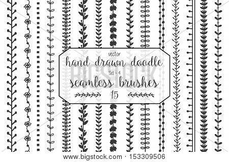 Set of hand drawn doodle seamless decorative brushes for dividers borders ornaments frames borders and design elements isolated on white background. Vector brushes are included in the brush panel.