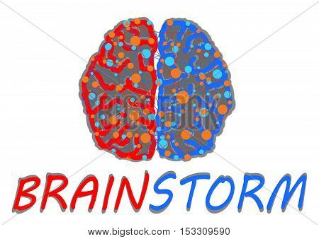 Brainstorming creative idea.Design over white background.Brain icon vector illustration. Flat design style.