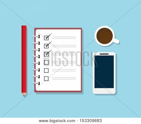 checklist notebook with pencil smartphone and coffee on work desk flat design vector illustration