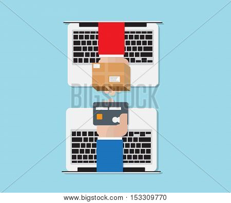 hand exchange with credit card on laptop online shopping concept vector illustration
