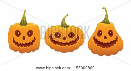 Set of funny pumpkin faces for Halloween. Pumpkin smiling faces isolated on a white background in flat cartoon style. Element for your design, print, poster and greeting cards.