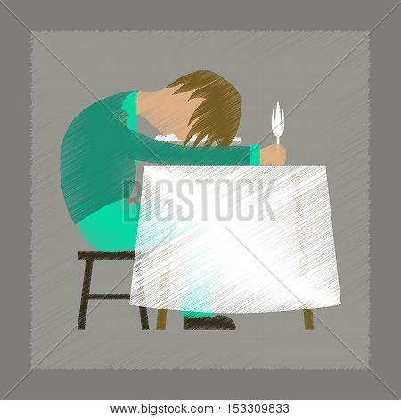 flat shading style icon of man sleeping at desk